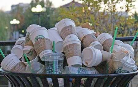 Image result for trash can full of Starbucks drinks