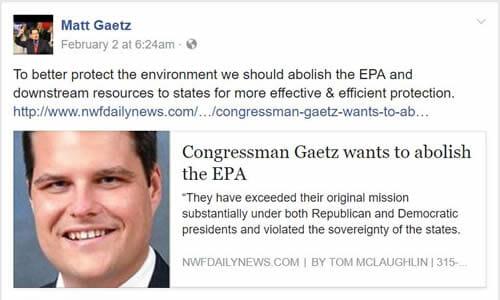 Rep Matt Gaetz wants to terminate the EPA