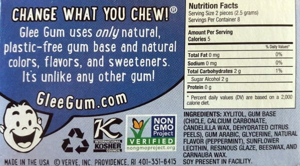 Glee Plastic-Free chewing gum ingredients