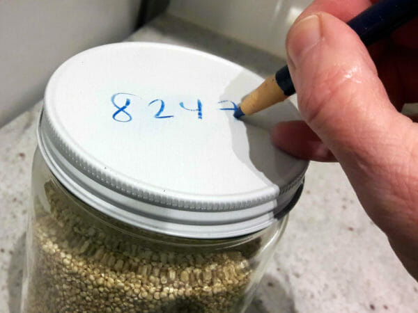 Good Holding Company write bin number with grease pencil