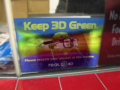 3D glasses recycling sign