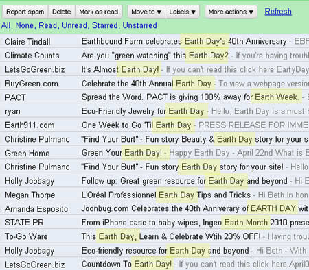 Earth Day email inbox