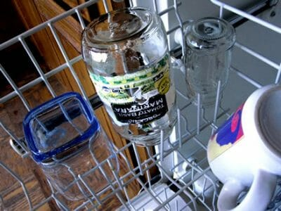 jar with label in dishwasher