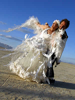 plastic wedding dress at Burning Man