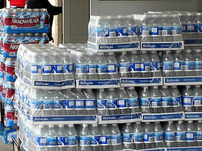 cases of bottled water