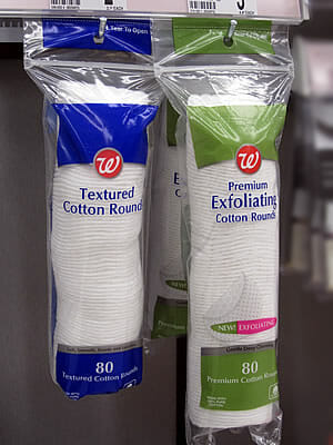 cotton rounds in plastic packaging