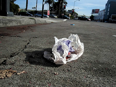 plastic bag litter on 8th Street in San Francisco