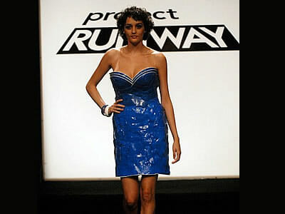 Project Runway blue plastic cup dress