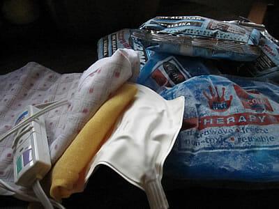 Plastic ice packs & heating pad