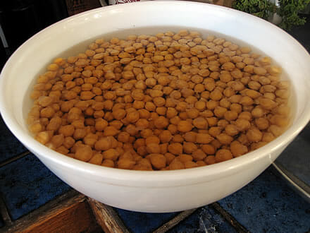 soaking dried chickpeas