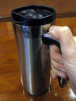 stainless steel travel mug with polypropylene lid