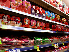 shelves of Valentine's Day plastic crap