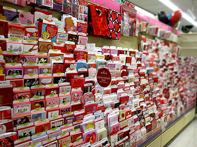 Valentine's Day greeting card display